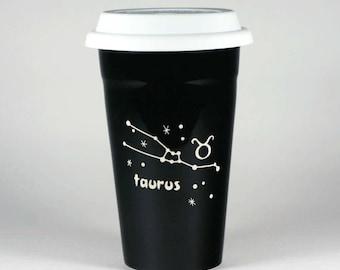 Taurus Zodiac Travel Mug - Black insulated ceramic coffee cup w/ lid