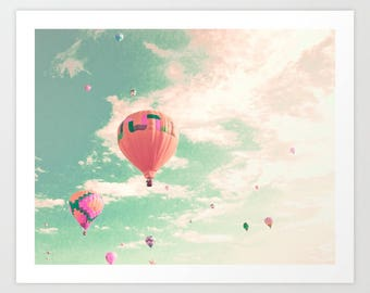 Hot air balloon nursery, extra large wall art, wall art canvas, framed wall art, nursery wall art, nursery decor, turquoise, mint, pink