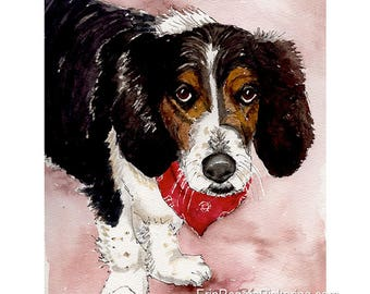 Gift Certificate for Dog or Cat Pet Portrait  8x10 custom watercolor