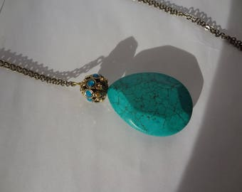 Bronze necklace, Magnesite and gold filled