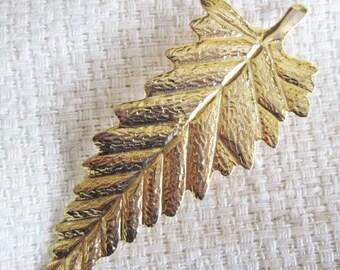 Vintage Gold Leaf Brooch-Gold Brooch