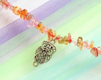 Owl coral glass choker 14 inch adjustable light weight/elegant/formal/party/work/casual