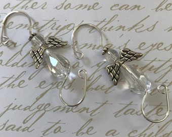 Ornament Hooks ~ Clear Glass Angels ~ Christmas Ornament Hooks ~ Set of 6 ~ Gift Packaged