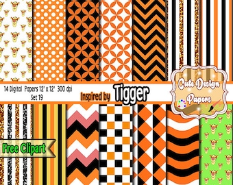 Digital Backgrounds inspired by Tigger 12x12, for Printables party, sticker, scrap books