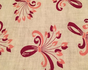 "Vintage Mid Century Fabric 1940's-1960's Cotton - Cotton Blend - 33-1/2"" Long x 36"" Wide - Burgundy - Pink - White"