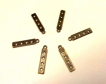 Set of 5 bronze charms - rectangles star T33