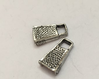2 pc pewter cheese grater charm, cooking charm, jewelry supplies