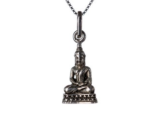Sterling Silver Buddha Pendant Necklace Spiritual Jewellery Yogi Jewellery Buddhist Handmade Free delivery