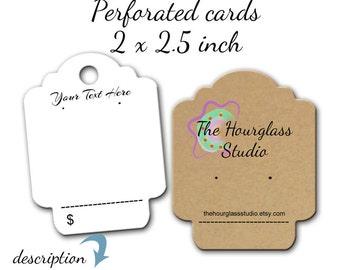 Custom Earrings Cards, Display Cards, Jewelry Display Cards, Necklace Labels, Earring Cards, Perforated Cards
