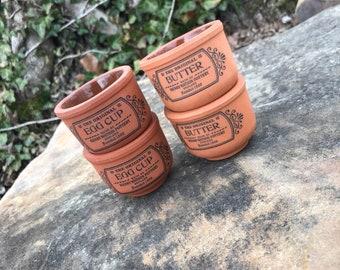 The Original Suffolk Egg & Butter Cups   Henry Watson Pottery England   Terra-cotta   Vintage Earthenware