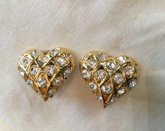 HEART RHINESTONE EARRINGS / Large Glam Rhinestone Encrusted Heart Clip Earrings / Gold Tone Clip Earrings Valentine Earrings Valentine Gifts