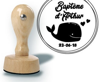 Custom baptism or marriage whale stamp