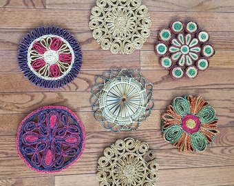 Set of Seven Vintage 1970s Wicker Trivets - Assorted Colors and Patterns