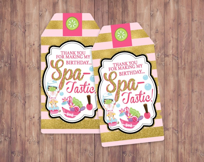 Spa favor tags, Spa party, birthday,  nail polish, Spa-tastic, glitter, party favor, spa party decor, thank you