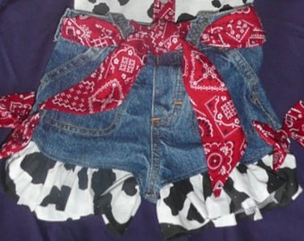 Cowgirl  upcycled denim shorts with red bandana and cow print.  sizes 0 -3 mo  -  10