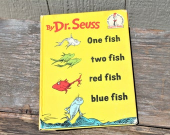Vintage First Edition 1960 Dr. Seuss One Fish, Two Fish, Red Fish, Blue Fish Book