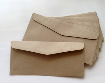 25 Brown Kraft Envelopes (Long Size 10.8 x 23.5 cm.or 4 1/4 x 9 1/4 inches)