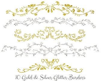 Buy 3 for 9 USD - Floral Borders Gold Silver Glitter Digital Clipart, wedding elements, invitation, frames, ornamental INSTANT DOWNLOAD