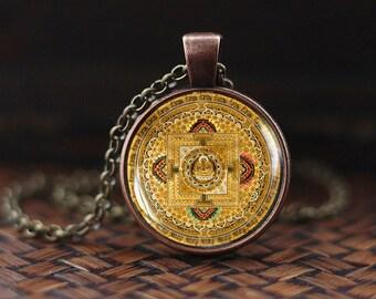 Tibetan mandala pendant, old buddhist mandala necklace, buddhist amulet gift, Spiritual Yoga Jewelry gift, men's necklace