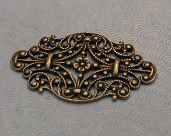 Oxidized Brass Victorian Style Filigree (Qty 1) 33x19mm S-9104-B