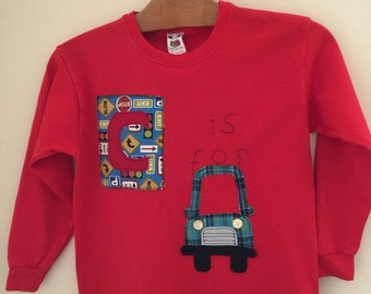 Long sleeve red appliqué cos for car tshirt