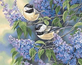 Chickadees & Lilacs Paint By Number, Dimensions Needlecrafts Paintworks