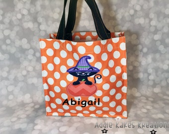 Personalized Halloween Candy Tote Bag with Kitty With and Pumpkin Design / 3 Bag Print Choices