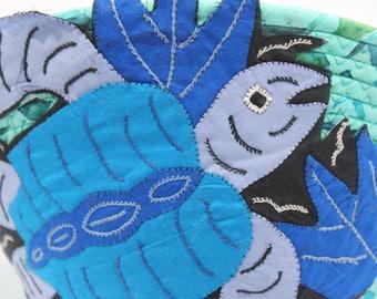Mola adorned Coiled Fabric Basket IV