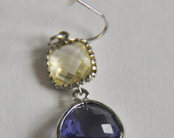 Citrine and Tanzanite Earrings Sterling Silver Setting