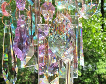 Crystal Wind Chime, Crystal Sun Catcher, Glass Wind Chime, Garden Décor, House Warming Gift, Gift for Her, Wind Chime, WC 110