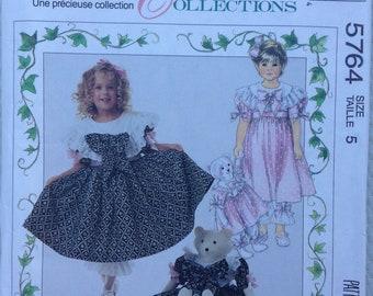 Girls fancy dress, pantaloon, bear doll and clothes McCalls pattern