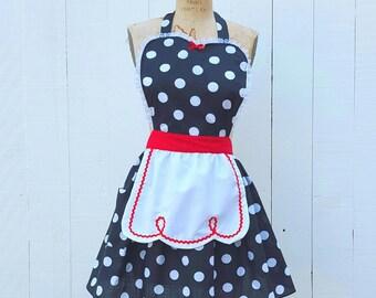RETRO APRON  Lucy ... retro red black polka dot womens full apron flirty hostess gift vintage inspired I love Lucy