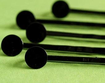12pcs Black Enamel Bobby Pins With Round Pad