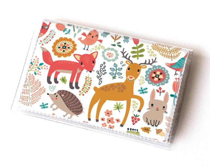 Vinyl Card Holder - Fall Forest2 / card case, vinyl wallet, women's wallet, small, pretty, handmade, cute, woodland, fox, deer, autumn