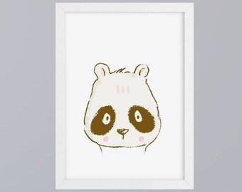 Panda drawn - art print, unframed