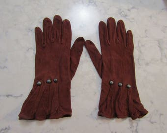 "VINTAGE 1940's New Unused Rust Rayon Pleated Wrist Gauntlet Gloves with Steel Studs--9.5""--Size 6 to 7---Glove Auction #5251-0118"