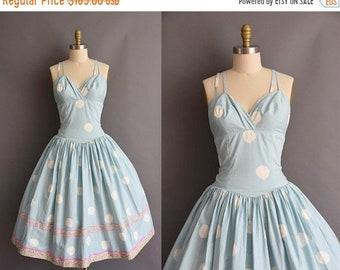 25% OFF SHOP SALE..//.. vintage 1950s blue cotton full skirt sun dress Large Xl 50s vintage blue cotton full skirt sun dress