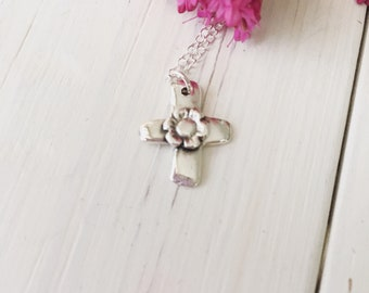 Handcrafted Recycled Silver Cross Necklace, Silver Cross, Petite Silver Cross Charm