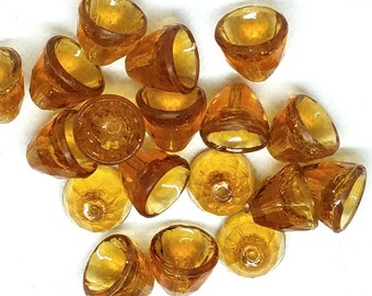 Vintage Amber Faceted Bell Bead Cap Glass Beads