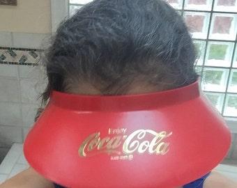 SALE 1980s Coke Hat Coca Cola Visor Vintage Plastic Coke Advertising Visor One Size Fits All