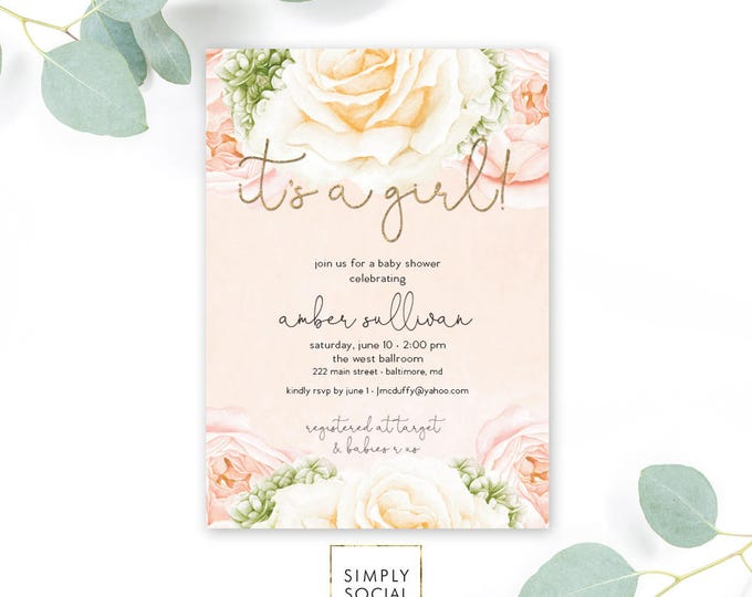 Peach Pink Floral Baby Shower Invitation - Floral Rose Peony Blush Faux Gold Foil Boho Hydrangea Watercolor It's a Girl Printable Invite