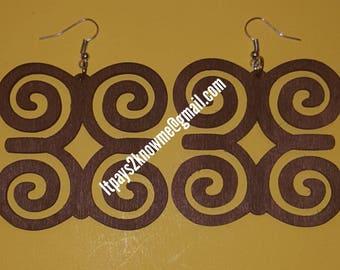 West African adinkra symbol DWENNIMMEN colored wood earrings