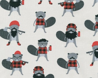 Burly Beavers in Steel by Andie Hanna for Robert Kaufman quilting cotton grey lumberjacks fabric material by the yard or metre