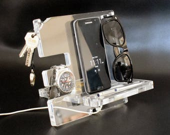 Clear Acrylic Organizer, Easter gift for him, Organizer for Men, Organizer stand, Organizer Charging station, Electronic Stand