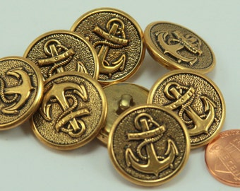 """Lot of 8 Antiqued Brass Tone Nautical Anchor Metal Buttons 7/8"""" 23mm (#6138)"""