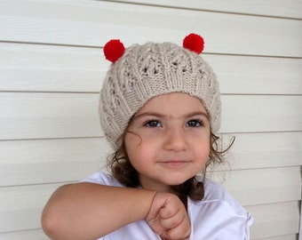 Knit Baby Hat in Red and Beige-Christmas Baby Hat,Photo Prop - for Baby or Toddler- Pom Pom hat-Baby Girl or Boy Hat