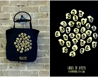 Ladies of Kyoto - Limited edition screen printed cotton tote bag, gold on black design