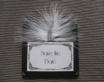 Save the Date Hollywood glamour style with feather detail