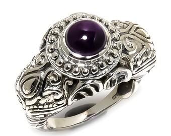 Natural Black Onyx Round Gemstone Ring 925 Sterling Silver R1121