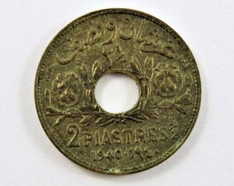 Syria 1940 2 1/2 Piastres Coin.